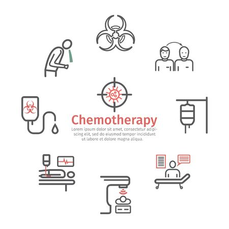 Chemotherapy line icons set. Vector signs for web graphics.