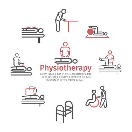 Cienka linia ikon do fizjoterapii, centrum rehabilitacji. Znaki wektorowe dla grafiki internetowej.