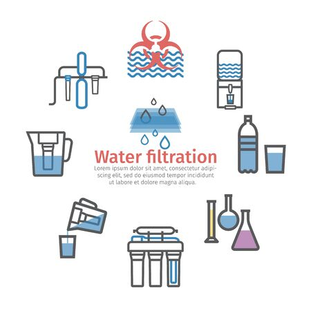 Water purification banner, filters line icons. Vector signs for web graphics. Illustration