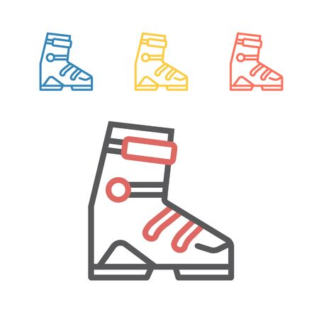 Ski sports boot line icons. Vector signs for web graphics.