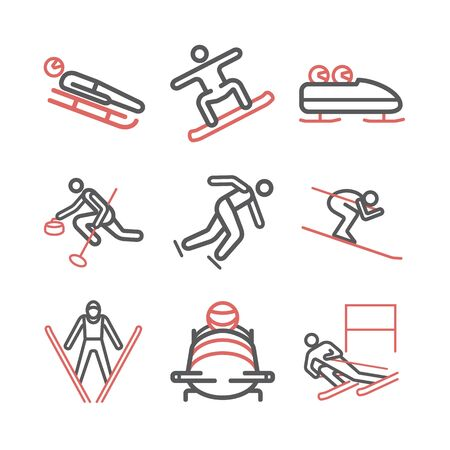 Winter sport line icons. Skiing. Vector signs for web graphics