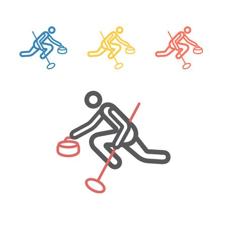 Curling game sport line icon. Vector signs for web graphics.