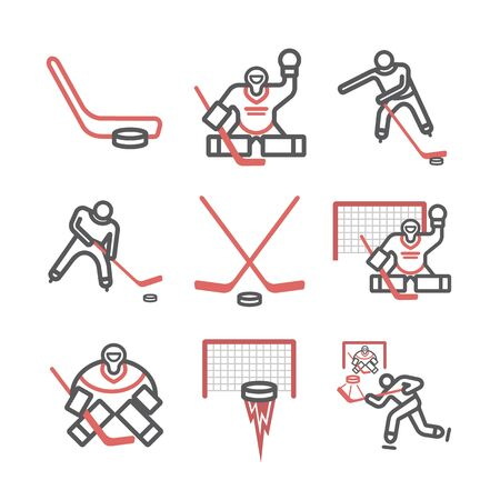 Ice hockey line icons. Vector signs for web graphics.