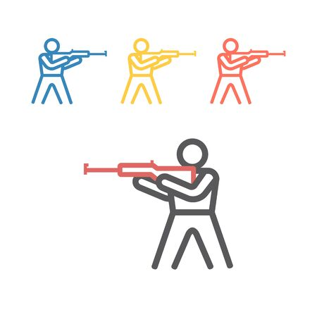 Biathlon line icon. Winter game. Vector signs for web graphics Çizim