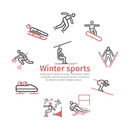 Winter sport banner. Line icon. Skiing. Vector signs for web graphics
