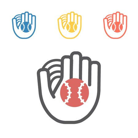 Baseball and glove. Vector sport signs for web graphics.