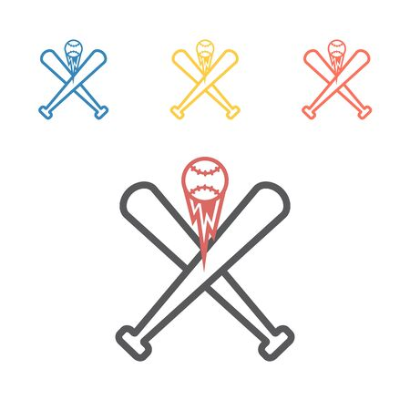 Baseball bat and ball line icon. Vector signs for web graphics.