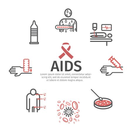 AIDS banner. Infographics. Vector signs for web graphics. 일러스트