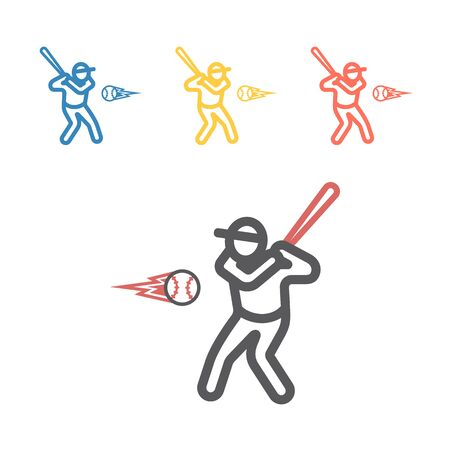 Baseball player line icon. Vector sport signs for web graphics 일러스트