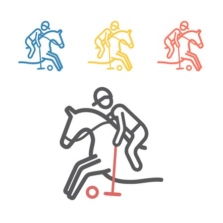 Polo player line icon. Vector signs for web graphics.