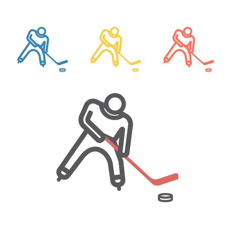 Hockey player line icon. Vector signs for web graphics