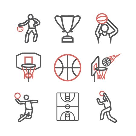 Basketball line icons. Vector signs for web graphics.