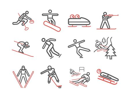 Winter sport. Line icons. Skiing. Vector signs for web graphics Ilustração