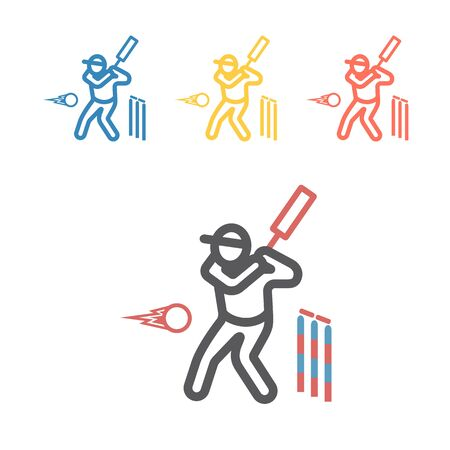 Cricket player line icon. Vector sport signs for web graphics. Иллюстрация