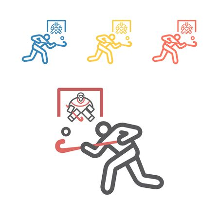 Field Hockey player line icon. Vector signs for web graphics Иллюстрация