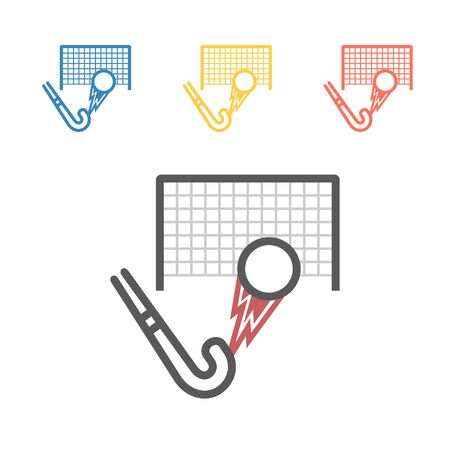 Field Hockey Stick with ball line icon. Vector signs for web graphics