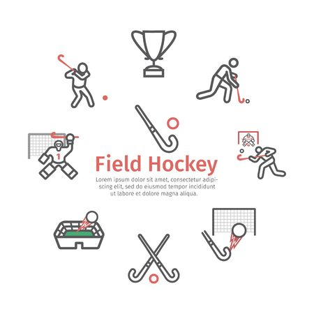 Field Hockey banner line icons. Vector signs for web graphics. Иллюстрация
