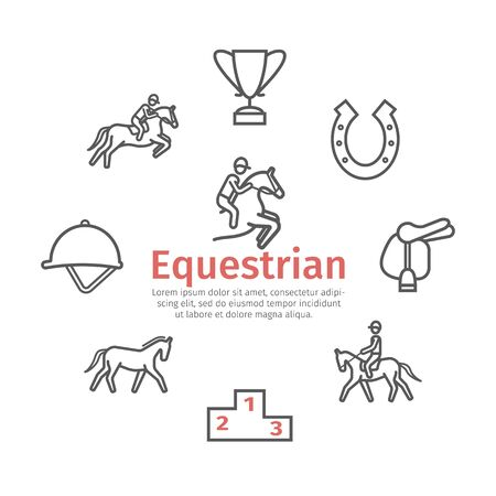Horse banner line icons set. Equestrian. Vector signs for web graphics