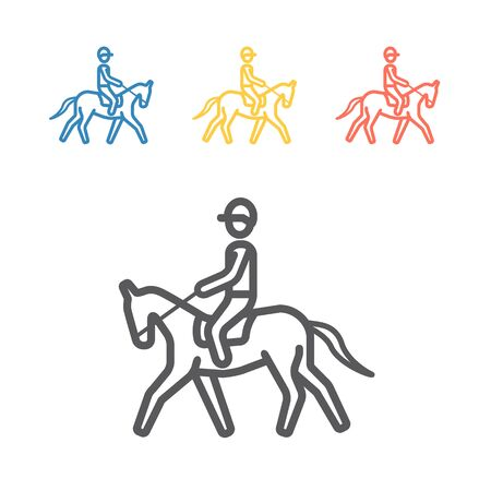 Horse rider line icon. Vector sport signs for web graphics.