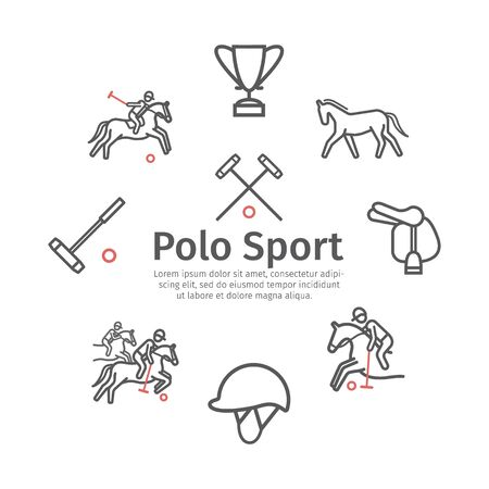 Polo sport banner line icons. Horseback. Vector signs for web graphics.