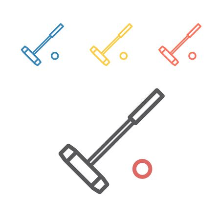Polo mallet line icon. Vector sport signs for web graphics.