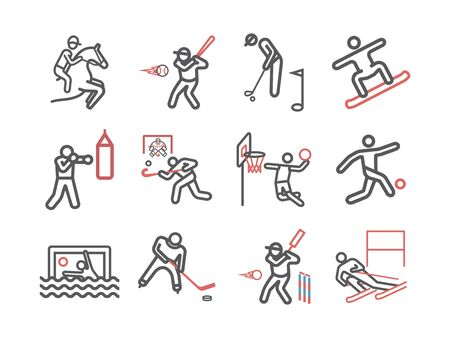 Kinds of Sports line icons set. Sports players. Vector signs for web graphics Illustration