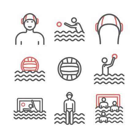 Water polo line icons. Vector sports signs