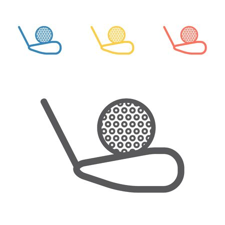 Golf Ball And Putter Icon. Vector signs for web graphics. Иллюстрация
