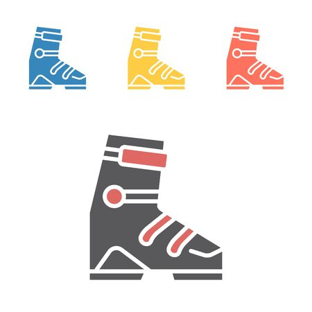 Ski sports boot icons. Vector signs for web graphics. Иллюстрация
