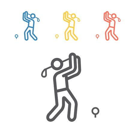 Golf player line icon. Vector signs for web graphics