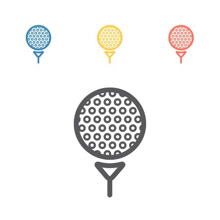 Vector Golf ball on tee. Vector signs for web graphics Illustration