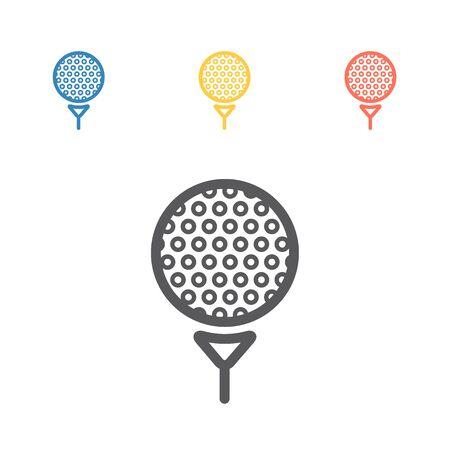 Vektor Golfball auf T-Stück. Vektorzeichen für Webgrafiken