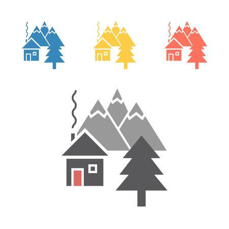 mountain house icon. Vector signs for web graphics Illustration