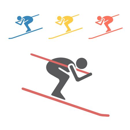 Downhill skiing icon. Vector signs for web graphics. Ilustracja