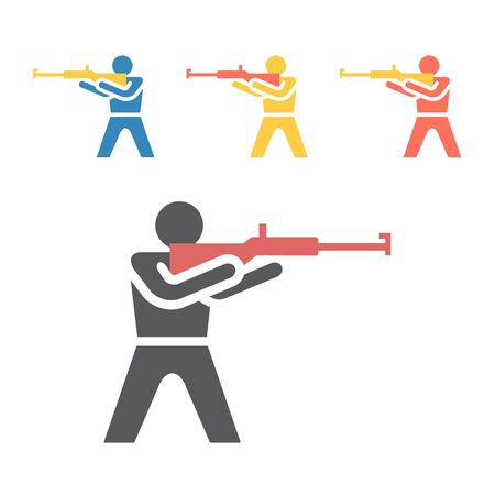 Biathlon icon. Winter game. Vector signs for web graphics