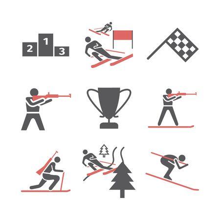 Biathlon flat icon. Vector signs for web graphics.