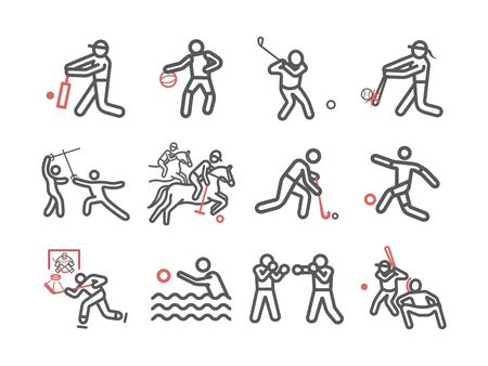 Kinds of Sports line icons set. Vector signs for web graphics.