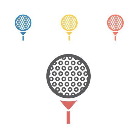 Vector Golf ball on tee. Vector signs for web graphics Ilustracja