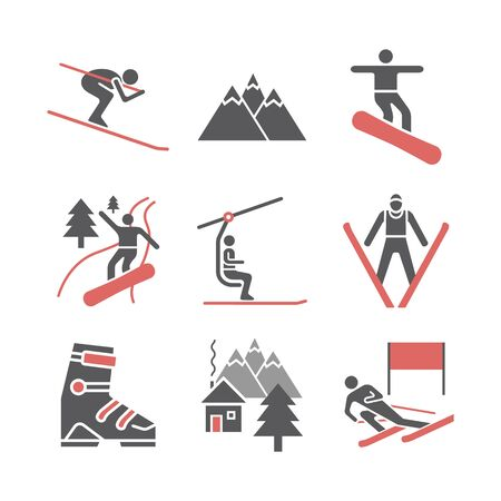 Ski resort icons. Flat icon. Vector sports signs.
