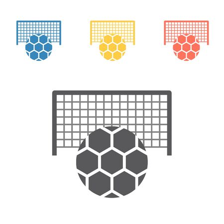 Soccer goal with ball. Vector signs for web graphics