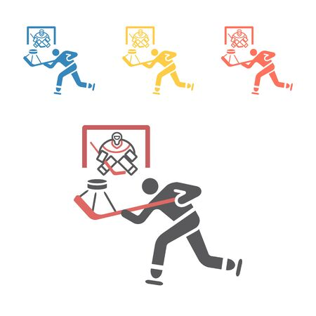 Hockey player icon. Vector signs for web graphics