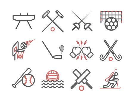 Kinds of Sports line icons set. Sports players. Vector signs for web graphics Иллюстрация