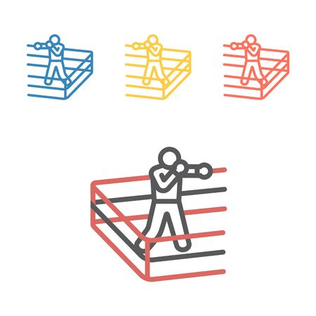 Boxer Line icon. Skiing. Vector signs for web graphics