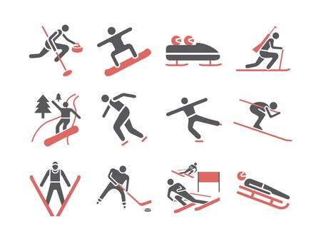 Winter sport. Flat icons. Skiing. Vector signs for web graphics Ilustração