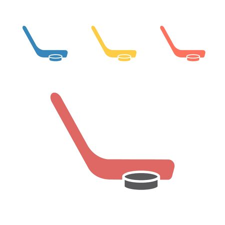 Hockey Stick And Puck icon. Vector signs for web graphics.