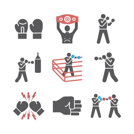 Boxing icons set. Vector signs for web graphics Ilustracja