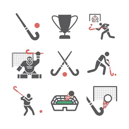 Field Hockey player icons. Vector signs for web graphics.