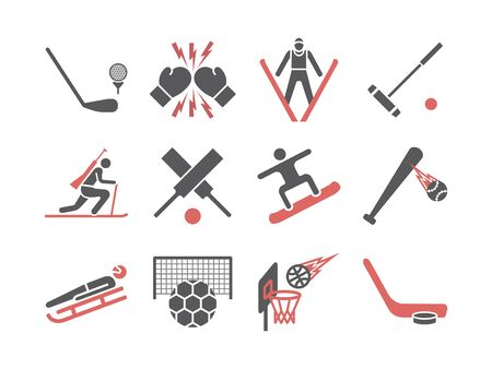 Kinds of Sports flat icons set. Sports players. Vector signs for web graphics Ilustrace