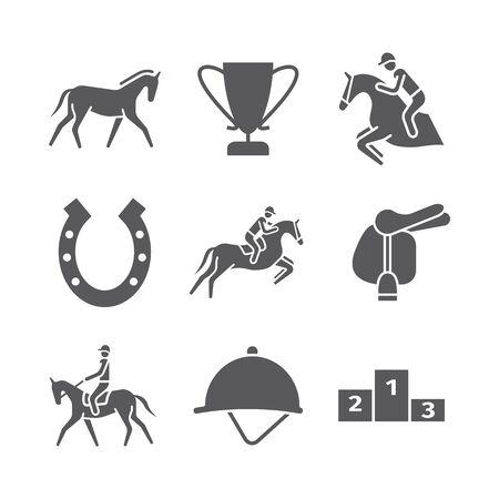 Pferdeikonen eingestellt. Reiter. Vektorzeichen für Webgrafiken