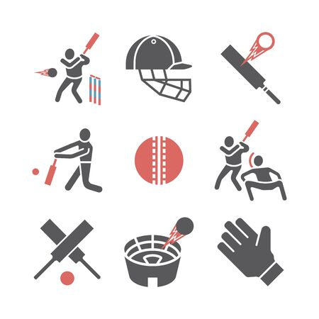 Cricket icons. Vector signs for web graphics.